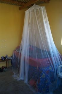 The mosquito net is up